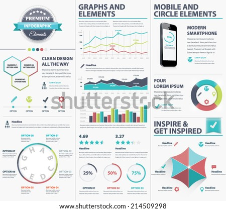 Big infographic vector elements collection to visualize data - stock vector