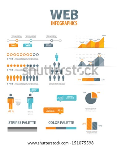 Big infographic vector illustration web element set - stock vector