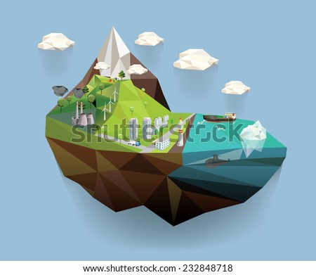 Big island in the sky. Ecology Concept Vector Illustration in polygon style. City Environment. - stock vector