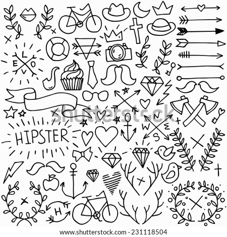 Big isolated black outline vector hipster set, doodle hand drawn modern elements collection - stock vector