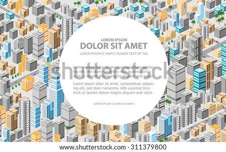 Big isometric city with hundreds of different houses, offices, skyscrapers, supermarkets and city streets with traffic. Background for business cards and real estate agencies. - stock vector