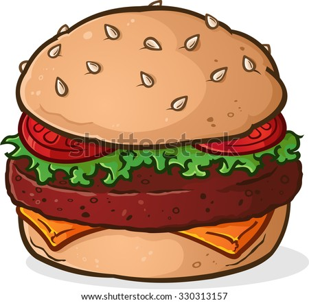 Big Juicy Delicious Hamburger Cartoon