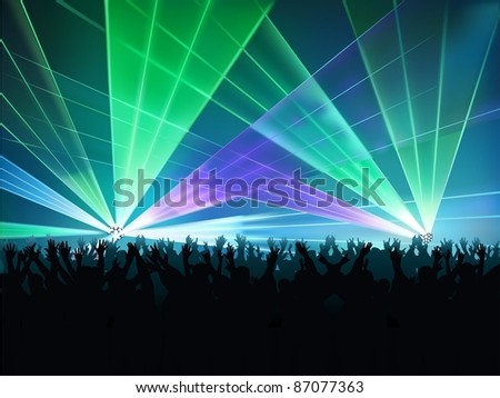 Big Laser Show - colored background illustration, vector - stock vector