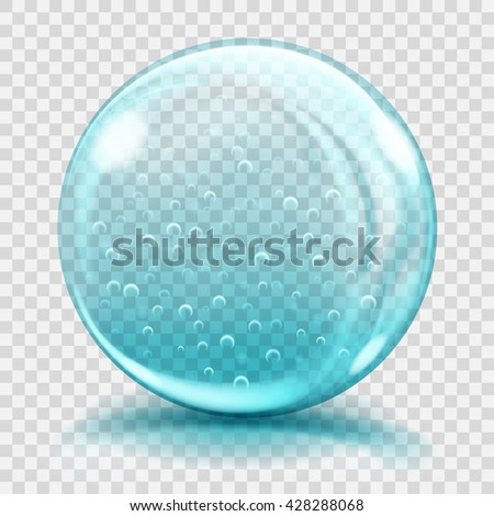 Big light blue glass sphere with air bubbles, glares and shadows. Transparency only in vector file - stock vector