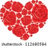 Big love heart from red roses. Vector illustration eps10 - stock vector