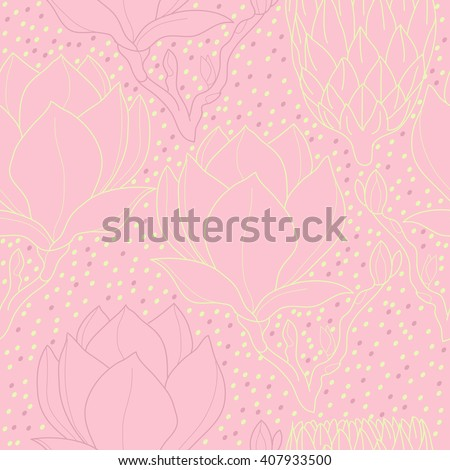 Big magnolia tree abstract seamless vector pattern - stock vector
