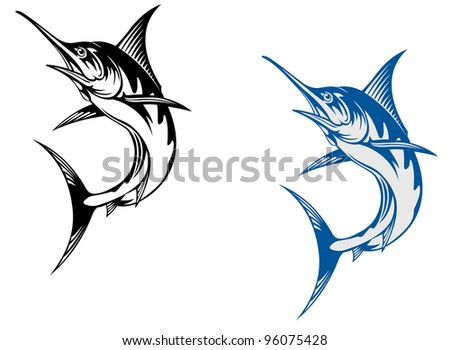 Big marlin fish isolated on white background in retro style, such  a logo. Jpeg version also available in gallery. - stock vector