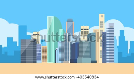 Big Modern City View Cityscape Skyline Vector Illustration - stock vector