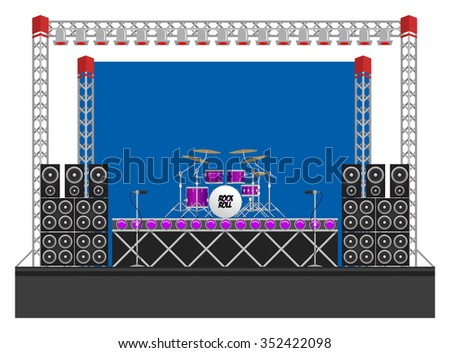 Big modern concert and festival stage with drum kit, speakers, lighting rigs, drum riser, microphones and equipment - stock vector