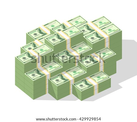 Big money concept. Stacked pile of hundred us dollar cash. Vector isometric illustration - stock vector