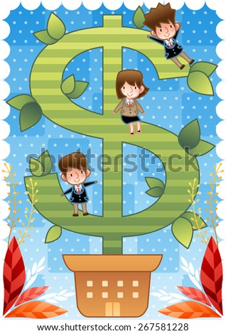 Big Money Tree with Businesspeople - cute young business worker ride on green dollar plant with fun on bright blue background with dot and chess patterns, white decorative frame : vector illustration - stock vector