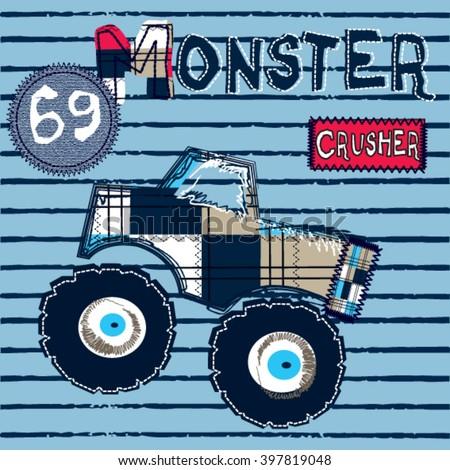big monster car on striped background, T-shirt design for kids vector illustration - stock vector