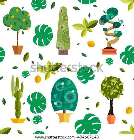 Big nature house plants collection vector illustration.Isolated set of flat potted interior flowers.Plants for summer garden design, evergreen trees icons and domestic flowers in pot seamless pattern - stock vector
