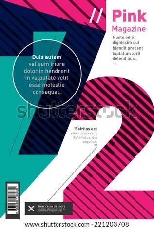 Big numbers brochure, book and magazine cover design - stock vector
