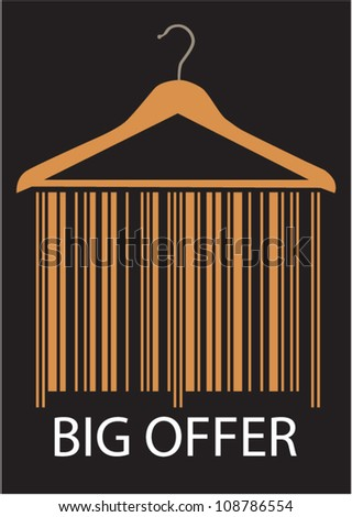 Big Offer barcode clothes hanger, Isolated over background. - stock vector