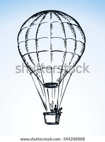 Big old airy Hot Air Balloon with people in gondola soar up on sail in cloud isolated on white background. Outline ink hand drawn icon sketch in scribble style pen on paper with space for text on blue sky - stock vector