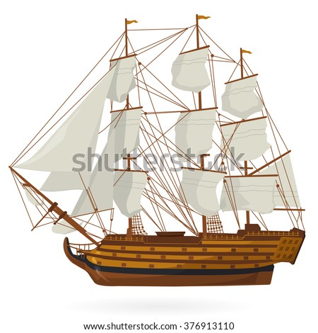 Big old wooden historical sailing boat on white. With sails, mast, brown deck, guns. Nice illustration of galleon. Training corvette ship for pirate - flatten icon isolated illustration master vector