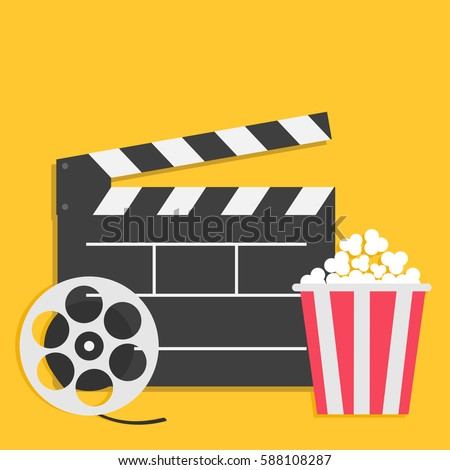 Big open clapper board Movie reel Popcorn Cinema icon set. Flat design style. Yellow background. Vector illustration
