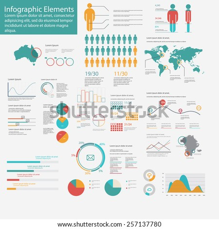 Big pack of data visualization vector infographics and elements web infographics - stock vector