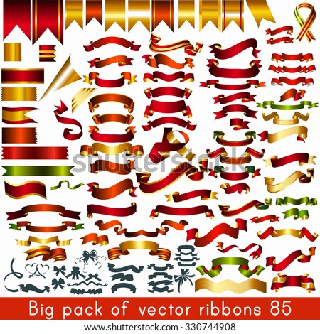 Big pack or collection of vector ribbons and banners for any holiday or event design - stock vector