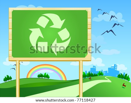 Big panel with symbol of recycle, vector - stock vector