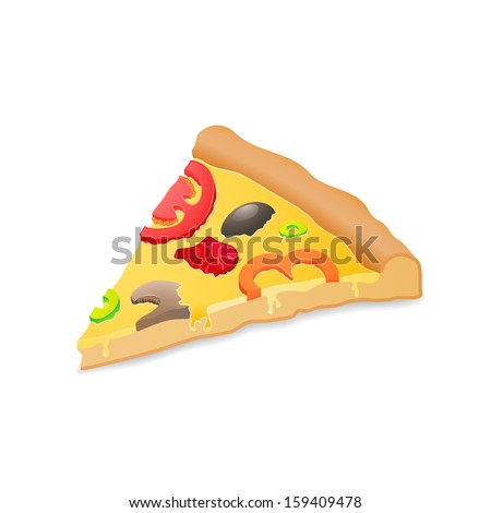 Big piece pizza, isolated over white background, food vector illustration, used for menu, icon, website design, invitation in pizzeria - stock vector
