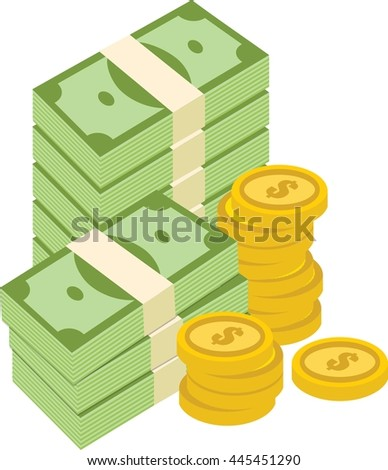 Big pile of cash money and coins - stock vector