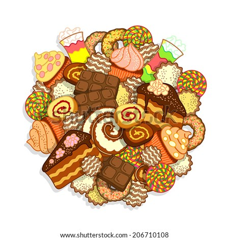 Big pile of different sweets and confectionery on a white background - stock vector