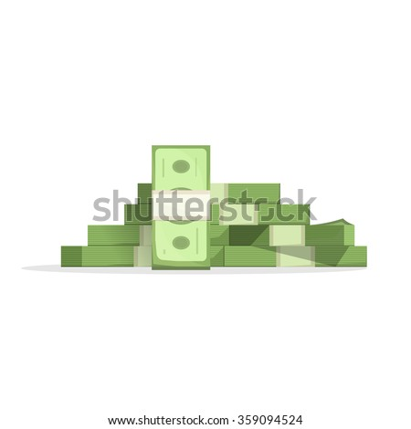 Big pile of money vector illustration, heap of cash flat cartoon style, American dollars, pack, packet, parcel, batch, flock, package modern design isolated on white background - stock vector