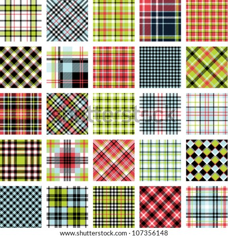 Big plaid pattern set - stock vector