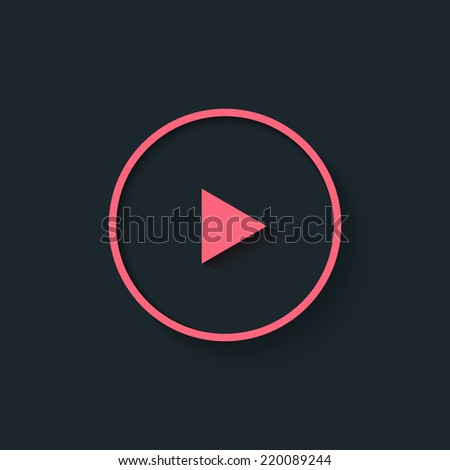 Big play pink button in flat style. Internet media player icon, could be also use as logo. Vector illustration. - stock vector