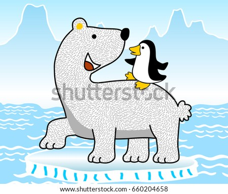 North Pole Cartoon Penguins Stock Images Royalty Free