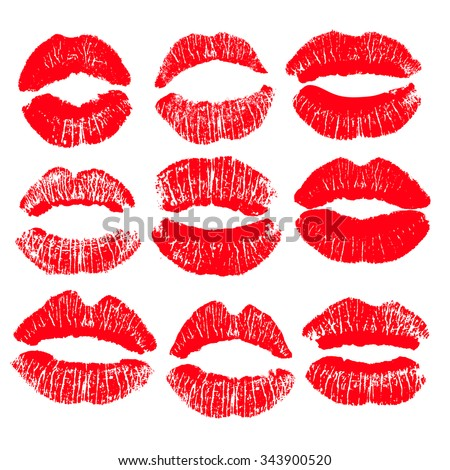 Big print set of red lips. Vector illustration on a white background. EPS - stock vector