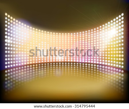 Big projection screen on the stage. Vector illustration. - stock vector