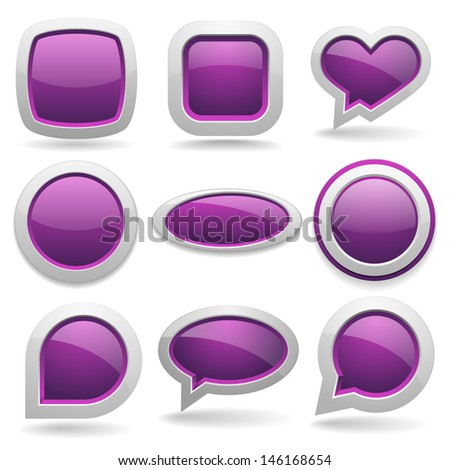 Big purple button collection - stock vector