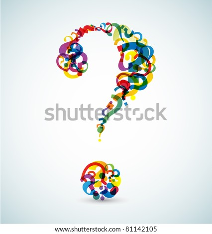 Big question mark made from smaller question marks (rainbow colors) - stock vector