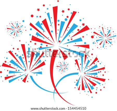 Big red and blue fireworks on white background. eps10 - stock vector