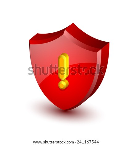 Big red and glossy security alert shield with yellow exclamation mark on white background - stock vector