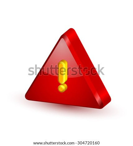 Big red and glossy security alert triangle symbol with yellow exclamation mark on white background - stock vector