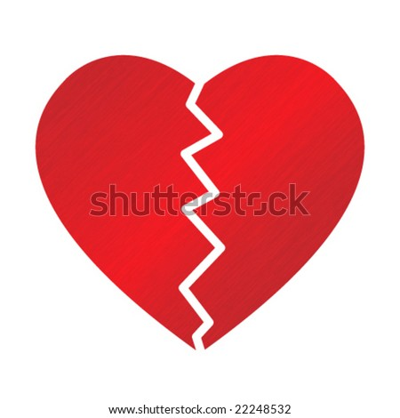 big red broken dappled heart on white background - stock vector