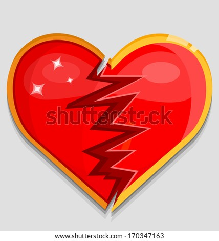 Big red broken heart. Vector illustration