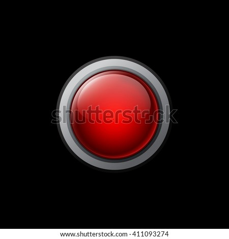 Big red button on a black background. Vector objects for website or printed material.