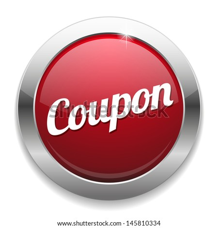 Big red coupon button - stock vector