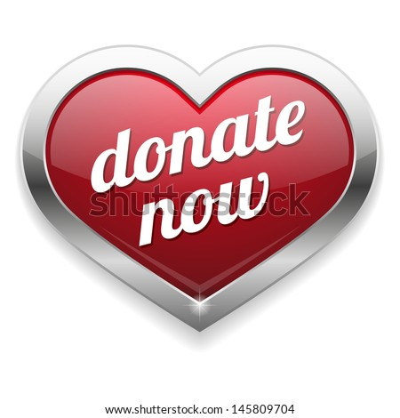 Big red donate now heart button - stock vector