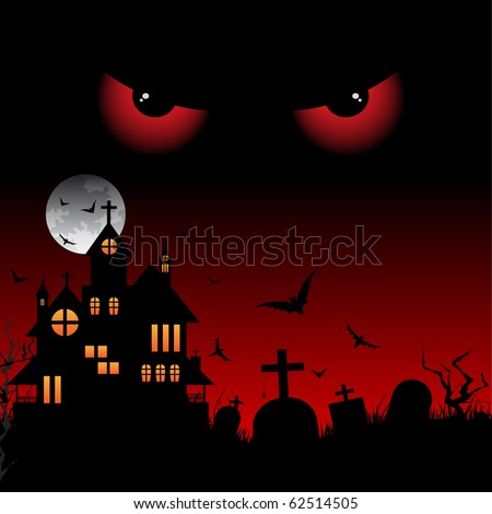 Big red eyes under a castle at night - stock vector