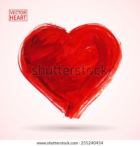 Big red heart. Hand drawn in half-dry technique with red paint. Rough texture. Shadowed. Isolated. Vector illustration for your design. - stock vector