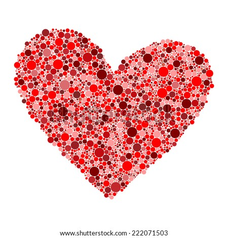 big red heart made from small circles on white background vector illustration