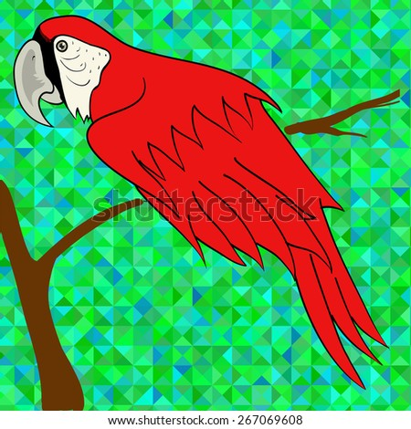 Big Red Parrot Sitting on a Branch on Green Polygonal Background. - stock vector