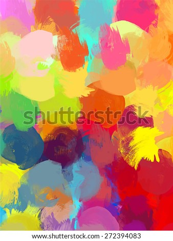 Big round colorful brush strokes background. Vector version