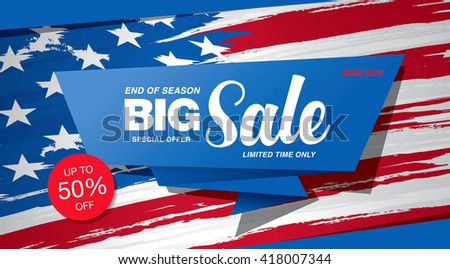 Big sale american banner template design
